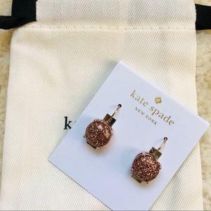 NWT Kate Spade Rose Gold Glitter Round Leverbacks